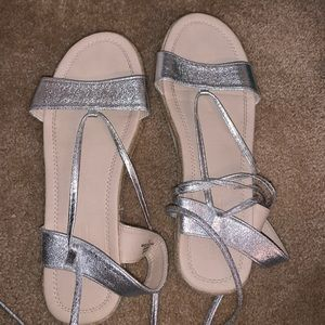 Silver wrap up sandals